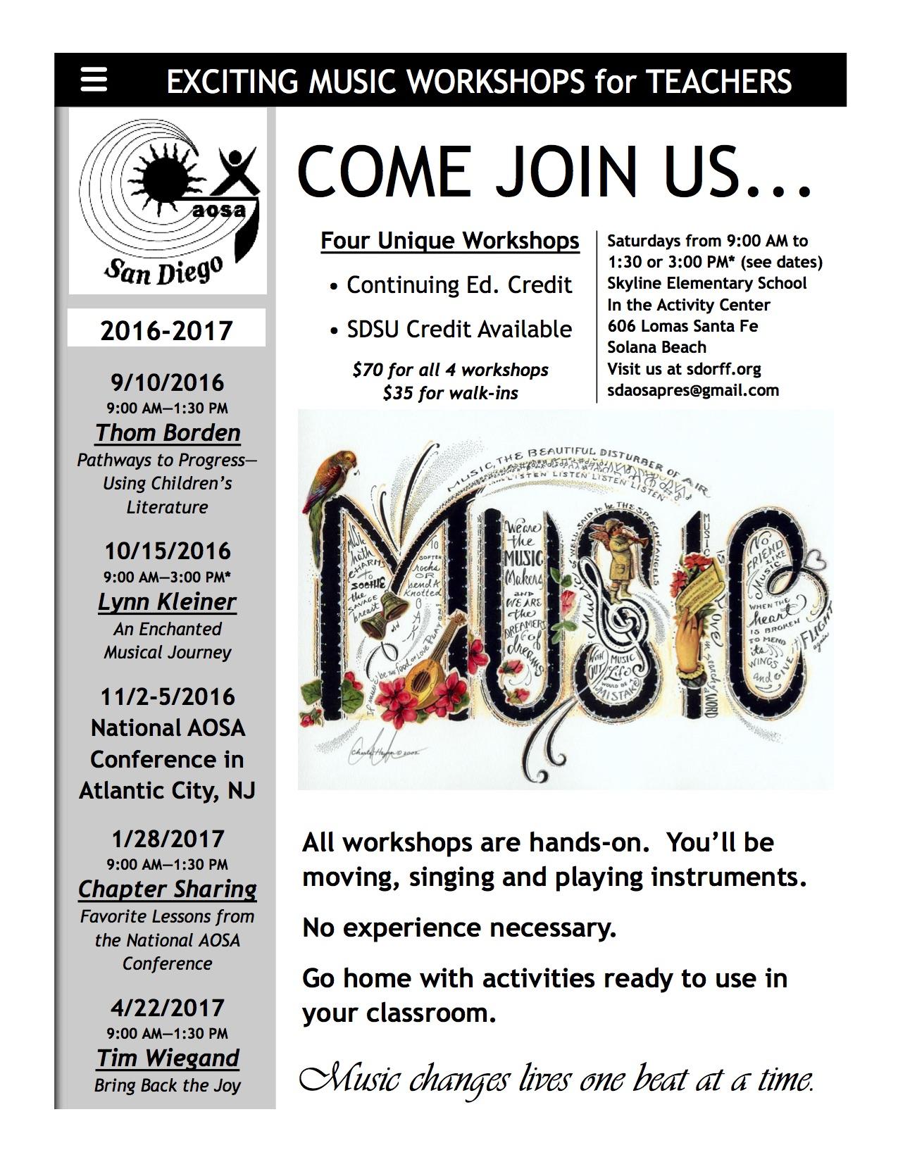 2016-2017 Workshop School Flyer